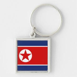 Nordkorea flagga Keychain Fyrkantig Silverfärgad Nyckelring