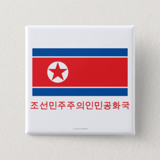 Nordkorea flagga med namn i korean standard kanpp fyrkantig 5.1 cm