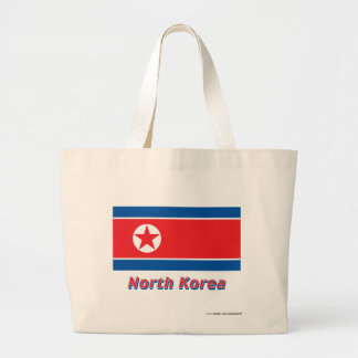Nordkorea flagga med namn tote bags