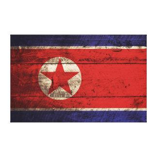 Nordkorea flagga på gammalt Wood korn Canvastryck