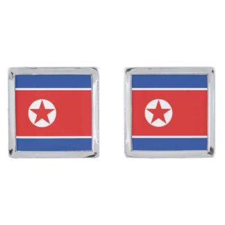 Nordkorea flaggaCufflinks Silverpläterade Manschetterknappar