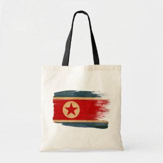 Nordkorea flaggakanfas hänger lös tygkasse