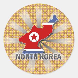 Nordkorea flaggakarta 2,0 runt klistermärke