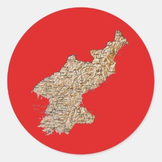 Nordkorea kartaklistermärke runt klistermärke