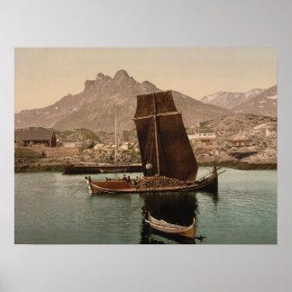 Nordlandsbaat Nordland, norgearkivtryck Affisch