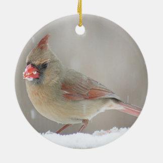 Nordlig kardinal julgransprydnad keramik