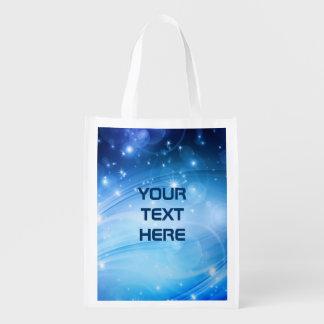 Nordliga ljusa stjärnablått + dina text & idéer återanvändbar påse
