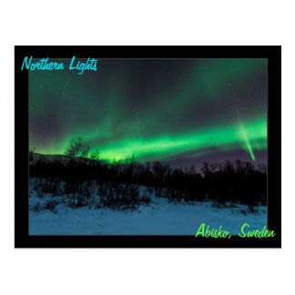 Nordligt ljus i sverigevykort vykort