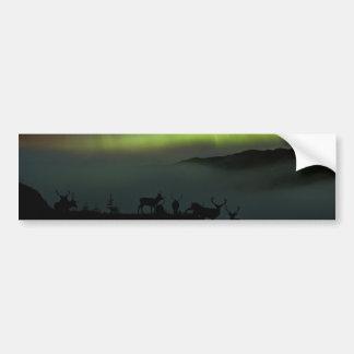 Nordligt ljus med fullvuxen hankronhjortbildekal bildekal