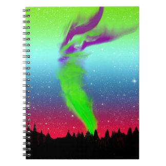 Nordligt ljus - norrsken anteckningsbok med spiral