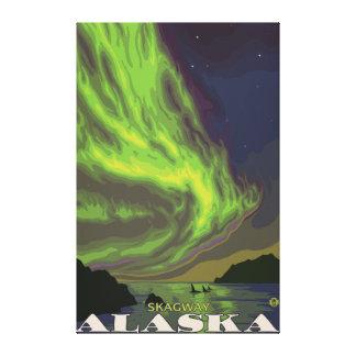 Nordligt ljus och Orcas - Skagway, Alaska Canvastryck