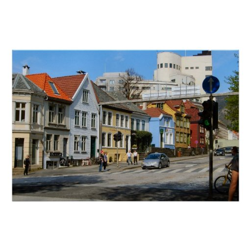 Norge Bergen, bostads- gata i town Posters