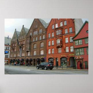 Norge Bergen högväxt traditionella stadsbyggnader Print