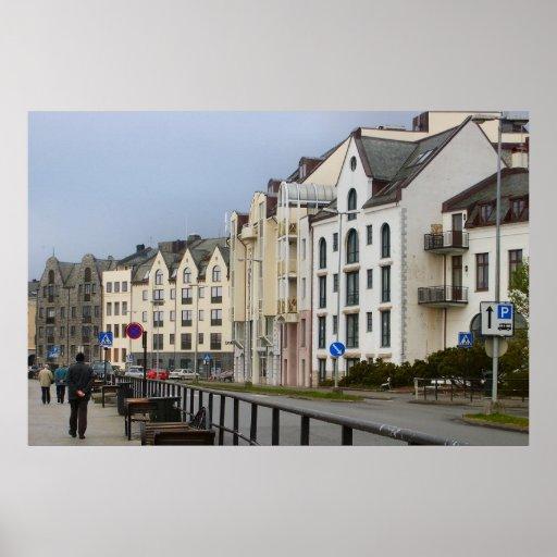 Norge Bergen, hus i den traditionella stilen Affischer