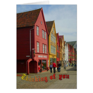 Norge Bergen, målade hus på stranden Hälsningskort