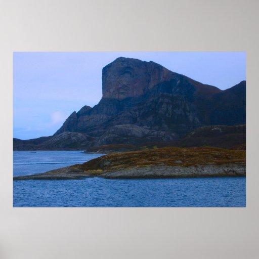 Norge Bergen som lämnar hamn Affisch