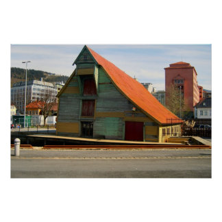 Norge Bergen traditionellt tak på ett lager Affisch