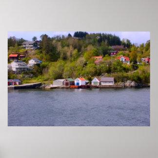 Norge by på huvudet av fjorden poster