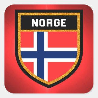Norge flagga fyrkantigt klistermärke