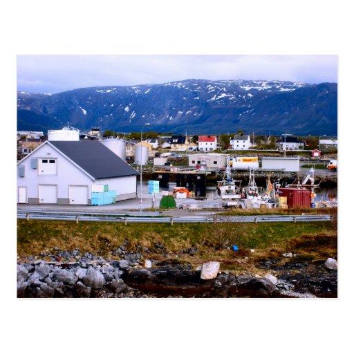 Norge, havshamn och berg vykort