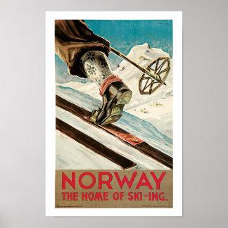 Norge~ hemmet av skidåkningen affisch