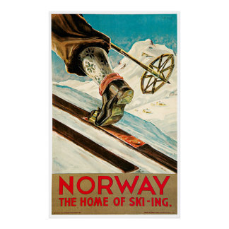 Norge hemmet av skidåkningvintage resoraffischen affisch