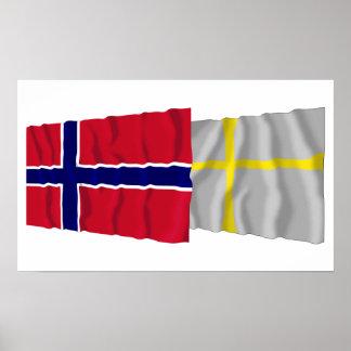 Norge och Nord-Trøndelag som vinkar flaggor Poster