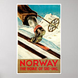 Norge - som är hem- av skidåkning resa konst affisch