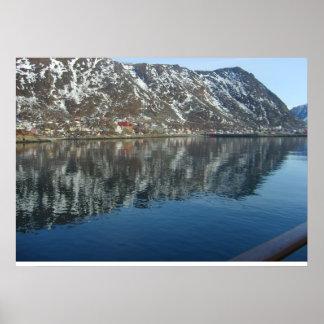 Norge som skriver in en fjord poster