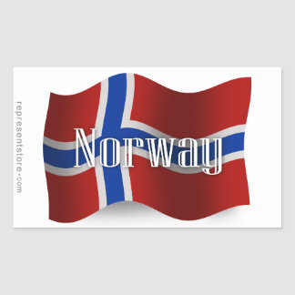 Norge som vinkar flagga rektangulärt klistermärke
