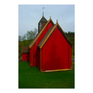 Norge traditionell norsk bykyrka affischer