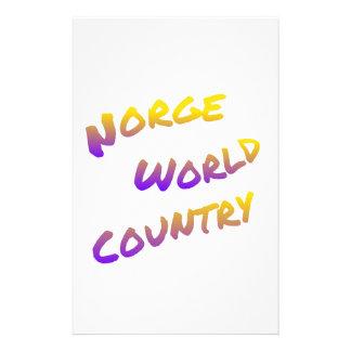 Norge världsland, färgrik textkonst brevpapper