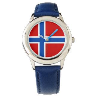 Norgebarnklocka - flagga av norgen armbandsur