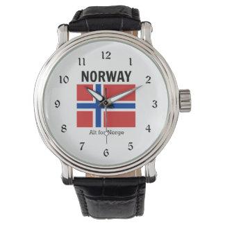 Norgeflagga och Motto Armbandsur