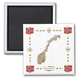 Norgekarta + Flaggormagnet Kylskåpsnagnet