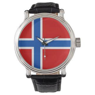 Norgeklocka - flagga av norgen armbandsur