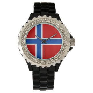 Norgekvinna klocka - flagga av norgen