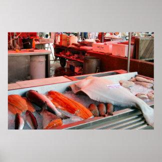 Norgen Bergen fisk marknadsför på stranden Print