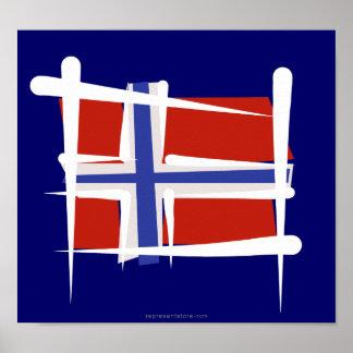 Norgen borstar flagga affisch