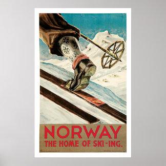 Norgen skidar sportvintage resor poster