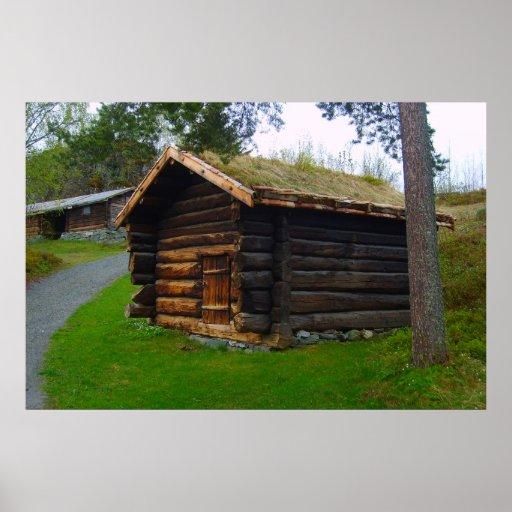 Norgen träkojan i kick betar posters