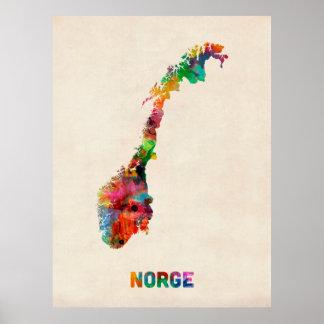 Norgevattenfärgkarta Poster