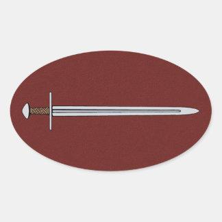 Normandiskt svärd ovalt klistermärke