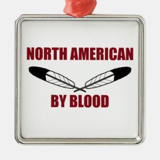 Norr - amerikan vid blod silverfärgad fyrkantigt julgransprydnad