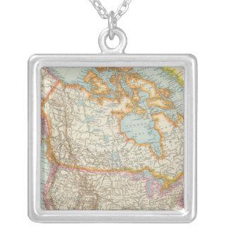 Norr Nordamerika - - amerikankarta Halsband Med Fyrkantigt Hängsmycke
