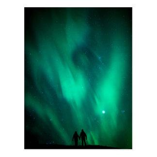 Norr röra natt för himmel för Borealis bildgrönt Vykort