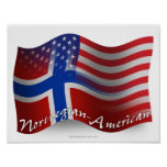 Norrman-Amerikan som vinkar flagga Poster