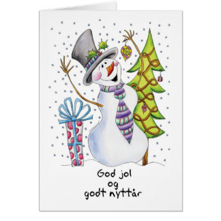 Norrman - snögubbe - lycklig snögubbe - gudjol hälsningskort