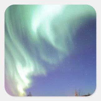 Norrsken eller nordligt ljus, Alaska Fyrkantigt Klistermärke