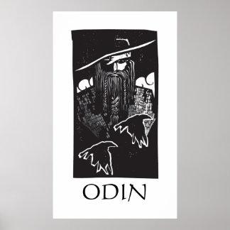 Norsegud Odin med 2 Ravens Affisch